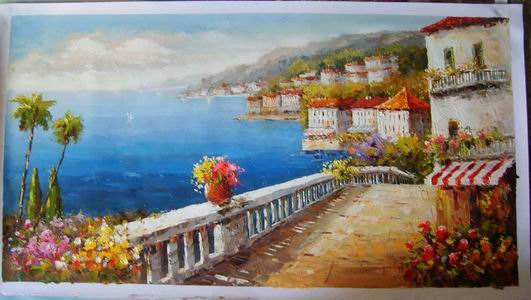 Mediterranean Painting,Hand Painted Oil Painting From Photo,Custom Oil Painting